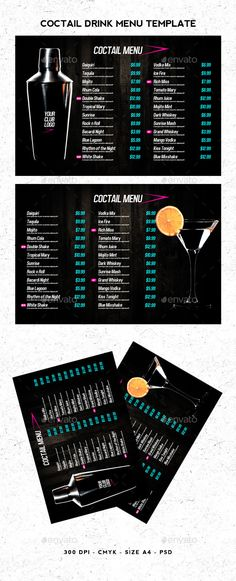 Cocktail Menu Fruit drinks, Menu and Print templates - bar menu template