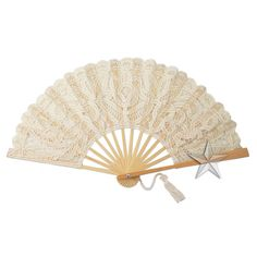 Large Natural Lace Hand Fan [G95517E1 Natural Lace Hand Fans] : Wholesale Wedding Supplies, Discount Wedding Favors, Party Favors, and Bulk Event Supplies