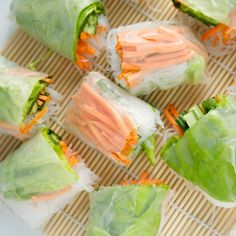 Vietnamese spring rolls with peanut dipping sauce...One of my favorites and so easy to prepare! This recipe is vegetarian, but you can also add shrimp to them, which is how I like to eat them.