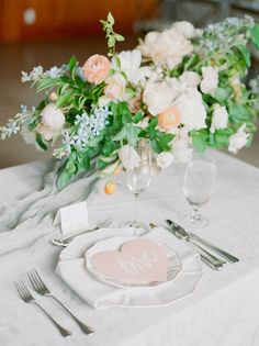romantic #pastelwedding | Stella Yang Photography | Glamour & Grace Creative Wedding Inspiration, La Tavola Linen, Heart Place, Glamorous Wedding, Outdoor Ceremony, Wedding Details, Wedding Ideas, Place Settings, Paper Goods