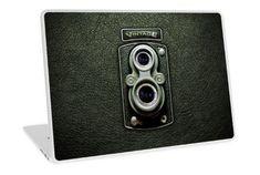 Vintage Black Doff Double lens camera Laptop Skins #laptop #skin #case #photography #polaroid #camera #lens #steampunk #classic #oldschool #retro #vintage #black #doublelens #cool #digitalmanipulation #autofocus #blur #shutterspeed #iso #megapixels