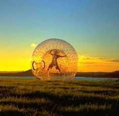 Zorb Ball or Human hamster Ball with no harness. If you want to find out all about the zorb ball, see http://www.zorbingtime.com/zorb-ball-human-hamster-ball/