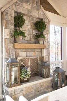Fireplace ~ stone with natural wood mantel