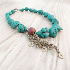 Asymmetrical Statement Necklace, Turquoise Howlite Nuggets and Tribal Gypsy metalwork on Etsy, $64.00