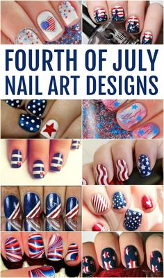 FOURTH OF JULY NAIL ART DESIGNS - If you are looking to paint your nails for the Fourth of July these nail art designs are so cute and mostly pretty simple. Get your red, white and blue on! Fancy Nails, Red Nails, White Nails, Pretty Nails, Hair And Nails, Patriotic Nails, American Nails, Holiday Nail Art, Cute Nail Art