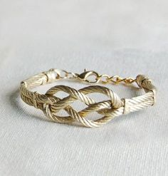 sailors knot gold bracelets (spray paint rope gold and then put the two pieces together and buy other jewelry fastenings at JoAnn Fabrics)