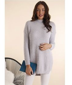 Princess High Neck Tunic Long Fluffy Ribbed Knit – Light Grey  $ 64.79 fluffy knit  •  skinnies •  boots |  f r e e   p o s t  | We've fallen in love with this totally fierce knitted jumper with our fave high neck trend!