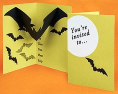 Pop up Halloween party invitation.  Template for bat included.