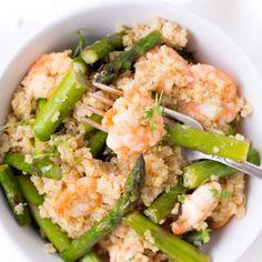 Quinoa mit grünem Spargel und Garnelen - Kochkarussell