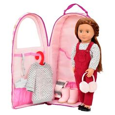 Protect Our Generation dolls and easily take them everywhere with the Our Generation Doll Carrier (Stripes). The adorable protective doll carrier has a polka-dot pink heart outer cover and clear viewing area that allows the doll to peak outside as it rests inside. Zippered storage area lets your little one tote their favorite Our Generation doll accessories and books. A handle makes for easy carrying.