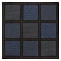 """Summit All weather Area Outdoor Area Rug, 8'6"""" SQUARE, BLUE by Home Decorators Collection. $249.00. Is quick drying, non-fading and resists stains and mildew.. Easy to clean; simply spray with a hose or dry clean.. Power loomed with a flatweave construction for lasting durability.. Our Summit Area Rug offers the look and texture of natural fiber plus all-weather durability. This outdoor rug will bring style and warmth to your open-air spaces, and it looks great indoors as wel..."""