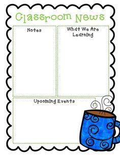 FREE Newsletter Templates Class Newsletter Template, Newsletter Format, Preschool Newsletter Templates, Classroom Newsletter, Free Preschool, Preschool Classroom, Montessori Elementary, Classroom Ideas, Kindergarten