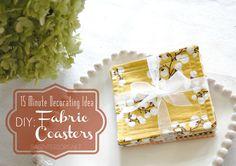 15 Minute Decorating Idea: Do It Yourself Fabric Coasters