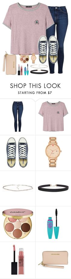 """""""I want a Michael Kors bag"""" by torideckerrr ❤ liked on Polyvore featuring Topshop, MANGO, Converse, Kate Spade, Humble Chic, tarte, Maybelline and Michael Kors"""