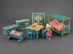 Vintage German Dora Kuhn Bavarian Dollhouse Furniture