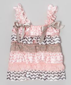 Love this Pink & Gray Zigzag Bow Ruffle Tank - Toddler & Girls by Whitney Elizabeth on #zulily! #zulilyfinds