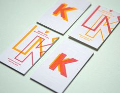 Inspired by letterpress overprinting, I designed my business cards so that the design would yield four different results based on a two color run.