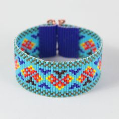 This Native Autumn Trees Bead Loom bracelet was inspired by all the beautiful Native and Latin American patterns I see around me in Albuquerque, New