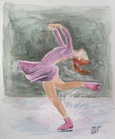 Portrait peinture aquarelle originale patineuse sur glace jeune femme : Peintures par mgdecors