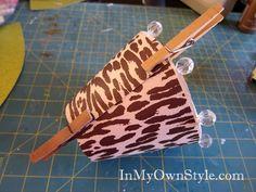 DIY chandelier shades using scrapbook paper
