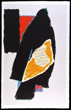 Robert Motherwell  Black for Mozart  1991  DIMENSIONS  64 x 41 inches  lithograph, collage on handmade paper
