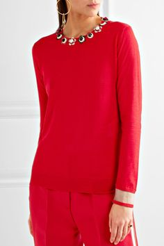 Red cashmere and silk-blend Slips on 70% cashmere, 30% silk; trim: 88% polyester, 10% nylon, 2% elastane Dry clean Made in Italy