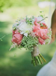 peonies  queen anne's lace astilbe vine berry bouquet