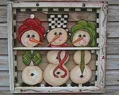 old window ideas | Snowmen painted on an old window by Janice Fouard