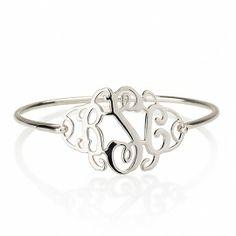 Silver monogram bangle