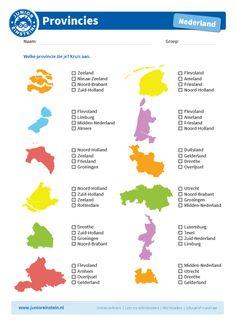 Kruis de goede provincie aan - Junior Einstein - Oefen met dit werkblad het herkennen van de twaalf provincies van Nederland. Kijk goed naar de vorm van de provincie en kruis vervolgens het goede antwoord aan. Op deze manier leer je de provincies nog beter kennen! Tip: oefen eerst met het leerblad provincies, voordat je dit werkblad maakt. Let op: om de kaart goed te kunnen bekijken, raden wij aan deze in kleur te printen. School Tool, School Hacks, School Projects, Netherlands Map, Learn Dutch, Dutch Language, Going Away Gifts, School Posters, Raising Kids