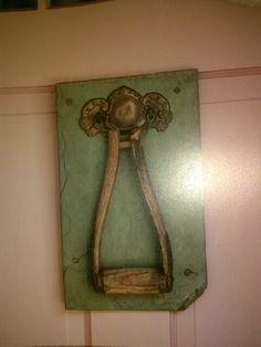 Shovel handle door knocker.