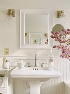This is mote realistic for guest bath remodel with black and white flooring....  Think White  Pick out basic white components for your must-have bath features and save thousands in remodeling dollars. White sinks, tubs, and toilets all cost less than those in colors because manufacturers make and sell more of them.  Plan your bathroom remodel with our free guide.