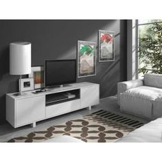 100e 155x40x47cm - Meuble TV - 1 niche - Blanc brillant - Fabrication européenne