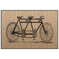 Bicycle Doormat - Burlap Image Welcome Mat - Novelty Door mat  Choose your color Floormat - Horse image