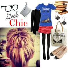 """Geek Chic"" Fashion Book Nerd Bookworm -- without the shorts. Geek Chic Fashion, Quirky Fashion, Fashion Beauty, Fashion Tips, Fashion Design, Nerd Mode, Fashion Books, Everyday Fashion, Spring Summer Fashion"