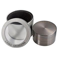 """LIHAO Pollen Grinder Weed 3"""" Groß 75mm Crusher für Tabak,Spice,Kaffee,Herb,Tobacco 4-teiliges Set mit Schaber Tabakmühle (Nickel-Schwarz) LIHAO http://www.amazon.de/dp/B0146CV72W/ref=cm_sw_r_pi_dp_vgt7vb0KSSDT5"""