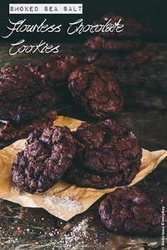 Smoked Sea Salt Flourless Chocolate Cookies recipe {gluten free} | DeliciousEveryday.com