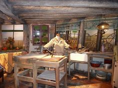 The kitchen in The Burrow where the Weasley family lived in the Harry Potter films.