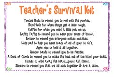 Teacher's Survival Kit...using this for New Teachers this year in FEA!