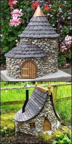 """Make tree stump under it start with plastic cylinder, add wood chips, moss etc. Fill w kitty litter to weight it and low down, make a knot hole plug w cork (?), so litter can be emptied to trash to lighten it and bring indoors when winter comes and carry it inside. When spring comes, refill kitty litter through knot hole plug outside to give it ballast again. Decorate outside w tiny bench, stool, broom, leftover """"wizard"""" hat of wrinkled felt, etc. Also, a window of glass w dried apple face."""