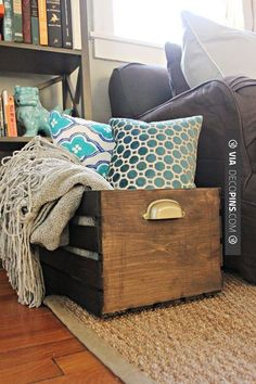 Furniture,Rustic DIY Wooden Storage Crate Design Ideas For Pillows And Blankets,Cheap And Easy DIY Home Projects Storage Ideas Wooden Storage Crates, Crate Storage, Wood Crates, Storage Ideas, Pantry Storage, Diy Storage, Ikea Crates, Storage Cubes, Closet Storage