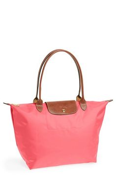 $145, Hot Pink Canvas Tote Bag: Longchamp Le Pliage Large Tote Bag Pink. Sold by Nordstrom. Click for more info: https://lookastic.com/women/shop_items/64983/redirect