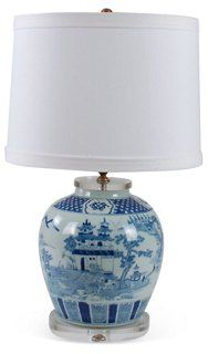 "Canton Blue Jar Table Lamp.  Base Porcelain, Shade Synthetic Silk, 3-way Switch.  25""Hx15""W,base. $269"