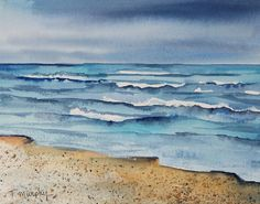 Beachscape Seascape Original Watercolor Painting by traceemurphy