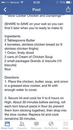 Slow cooker chicken and dumplings Crock Pot Slow Cooker, Crock Pot Cooking, Slow Cooker Chicken, Slow Cooker Recipes, Crockpot Recipes, Chicken Recipes, Cooking Recipes, Chicken Ideas, Chicken N Dumplings