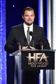 Leonardo DiCaprio speaks onstage during the 20th Annual Hollywood Film Awards.
