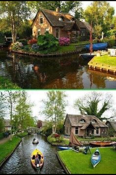 Giethoorn, Netherlands. The village with no roads. You take a boat wherever you go!