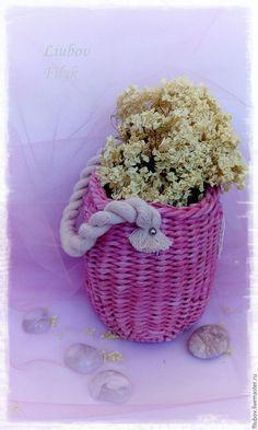 """Купить Корзинка """"Нежность"""" - бледно-розовый, подвесная корзиночка, уютный дом, подарок на любой случай"""