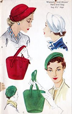 HATS and BAGS PURSES Pattern McCalls 1745 Three Fabulous Hat Styles One large Bag Purse UNCUT- Authentic vintage sewing patterns: This is a fabulous original dress making pattern, not a copy. Because the sewing patterns are vintage and preowned Vintage Dress Patterns, Purse Patterns, Vintage Dresses, Vintage Outfits, Vintage Clothing, Moda Vintage, Vintage Handbags, Vintage Purses, Vintage Hats