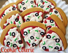 Pizza Party Decorated Cookie Favors One Dozen by CookieCoterie, $32.00